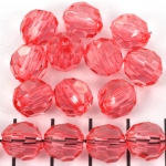 acrylic faceted round - light coral pink