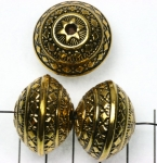 decorated rondelle 21 mm - gold