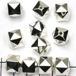 cube faceted - silver 12 mm