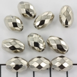 oval faceted - silver