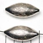 ovaal plat houtachtig gestreept - zilver 40 mm