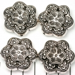 flower flat decorated - silver