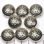 flat round decorated 18 mm - silver