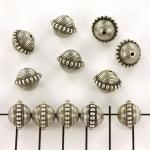 rondel gestreept  - zilver 9 mm