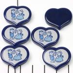 HappyDutch hart 20 mm - boer en boerin met tulp