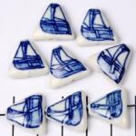 delfts blauw driehoek plat - zeilboot