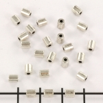 metal bead cilinder shaped - smooth silver