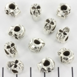 bead skull with big hole - silver