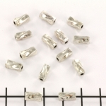 metal bead cilinder shaped - twisted silver