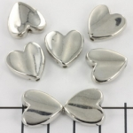heart bead - silver 16 mm