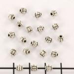 metal bead round - pumpkin shape silver