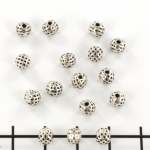 metal bead round - with dots zilver