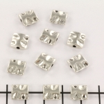 metal bead square - waves silver