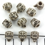 decorated bead with eyelet - antique silver