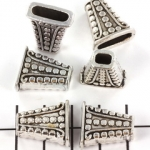beadcap decorated rectangular - silver