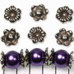 beadcap flower  striped 15 mm - silver