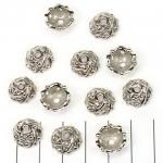 kralenkap 12 mm met motief - zilver