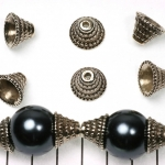 beadcap conical with dots - silver