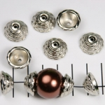 beadcap 16 mm decorated - silver