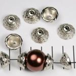 kralenkap 16 mm versierd - zilver