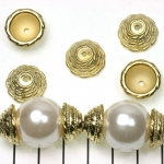 beadcap 16 mm decorated - gold