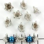 kralenkap bloem - zilver 12 mm