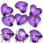 acrylic faceted heart - purple