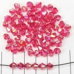 acrylic faceted conical 6 mm ab - dark pink