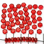 acrylic faceted flat round - red