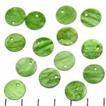 schelp rond plat 12 mm 1 gat - groen