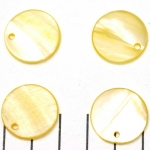 fresh water shell thick round flat 20 mm  - yellow