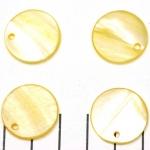 zoetwater schelp dik rond plat 20 mm - geel