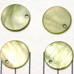 zoetwater schelp dik rond plat 20 mm - groen