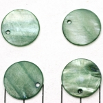 fresh water shell thick round flat 20 mm  - green petrol