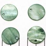 zoetwater schelp dik rond plat 20 mm - groen petrol