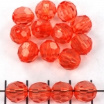 acrylic faceted round - coral pink