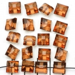 acrylic faceted flat cube - brown