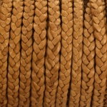 flat braided leather 5 mm - brown beige