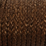 flat braided leather 5 mm - metallic bronze