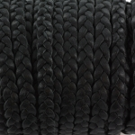 flat braided leather 5 mm - black