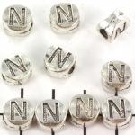 metalen alfabet letter kraal - zilver N