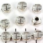 metalen alfabet letter kraal - zilver T