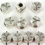 metalen alfabet letter kraal - zilver Y