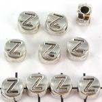 metalen alfabet letter kraal - zilver Z