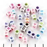 white letterbead cube  - mix coloured
