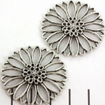 connector flower 34 mm - silver