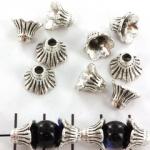 kralenkap bloem 8 mm - zilver