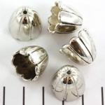 kralenkap groot gestreept 15 mm - zilver