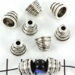 beadshood striped 10 mm - silver
