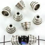 kralenkap gestreept 10 mm - zilver